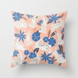 Bunnies & Blooms - Blue & Blush Palette Throw Pillow