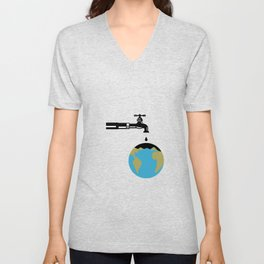 Faucet Dripping Water on Globe Retro Unisex V-Neck
