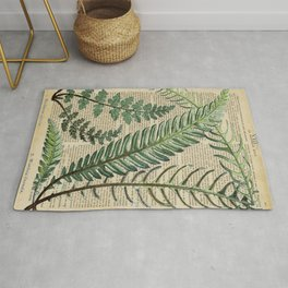 Book Art Page Botanical Leaves Rug