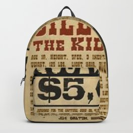 Billy The Kid Mug Shot Wanted Poster Mugshot West Cowboy Vintage Backpack