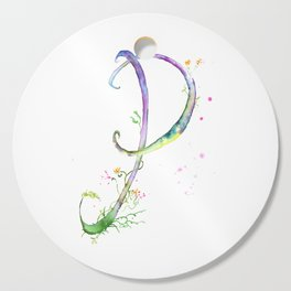 Letter P watercolor - Watercolor Monogram - Watercolor typography - Floral lettering Cutting Board