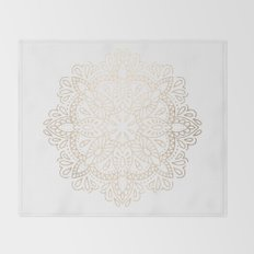 Mandala White Gold Shimmer by Nature Magick Throw Blanket