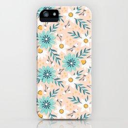 Pink & Blue Floral Bouquet Pattern iPhone Case