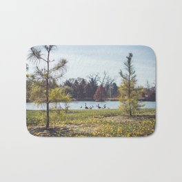 Migrate | Nature Landscape Photography of Birds in Fall Autumn Leaves Trees Bath Mat