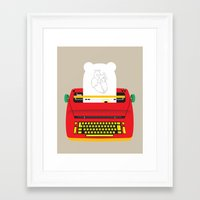 typewriter Framed Art Prints featuring Typewriter by EinarOux