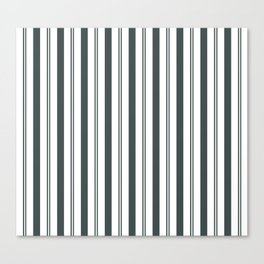 PPG Night Watch Pewter Green & White Wide & Narrow Vertical Lines Stripe Pattern Canvas Print