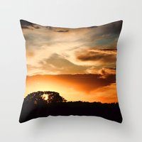 swedish Throw Pillows featuring Swedish sunset by Mark W