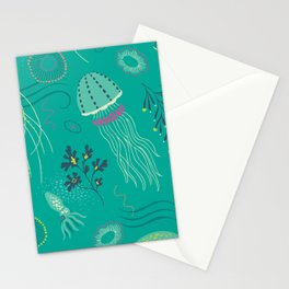 Into the Deep Jellies - Teal Stationery Cards