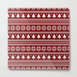 Dark Christmas Candy Apple Red Nordic Trees Stripe in White Metal Print