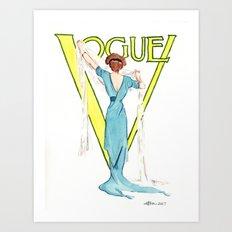 March 1911 Vintage Vogue Magazine Cover. Fashion Illustration Art Print