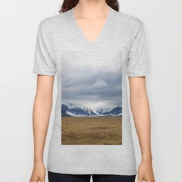 The Home of the Long White Cloud on the Road to Milford Sound Unisex V-Neck