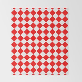 Diamonds - White and Red Throw Blanket
