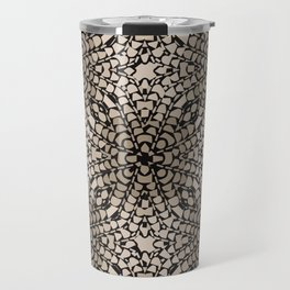 Black and Tan Geometric Modern Chrysanthemum Pattern Travel Mug