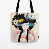 hair Tote Bags featuring Nenufar Girl by Ariana Perez