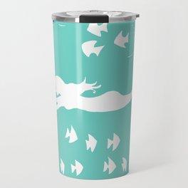 Mint and White Mermaid Silhouette Art Travel Mug