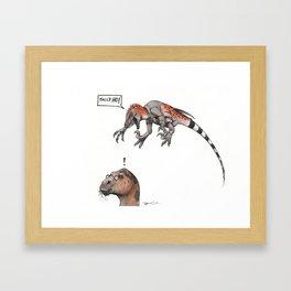 A Dapper Deinonychus Framed Art Print
