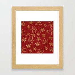 Snowflakes Red And Gold Framed Art Print