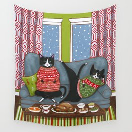 Holiday Couch Potato Cats Wall Tapestry