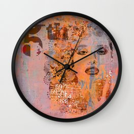 Wild Woman modern face mixed media art orange Wall Clock
