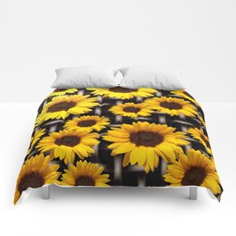 Bright Yellow Sunflower and Industrial Grid Pattern Comforters