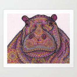 Hippie-Potamus (Pink) Art Print