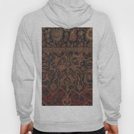Boho Chic Dark II // 17th Century Colorful Medallion Red Blue Green Brown Ornate Accent Rug Pattern Hoody