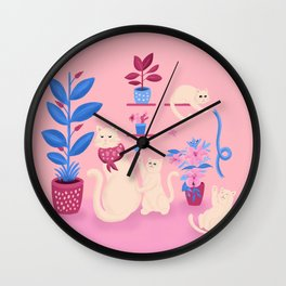 Grumpy mom and mischievous kittens Wall Clock