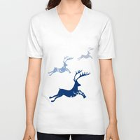 card V-neck T-shirts featuring Christmas card  by mark ashkenazi