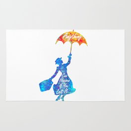 Anything Can Happen If You Let It - Mary Poppins Quote - colorful watercolor splatter Rug