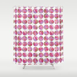 'Twilight' Pink, Purple and Gold Abstract Illustration Shower Curtain