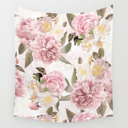 Vintage & Shabby Chic - Antique Sepia Summer Day Roses And Peonies Botanical Garden Wall Tapestry