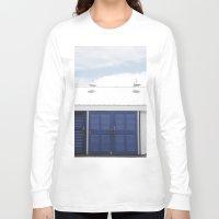 doors Long Sleeve T-shirts featuring Blue Doors by Rachelvb