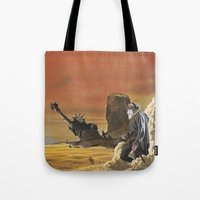 spawn Tote Bags featuring Beware the beast Man, for he is the Devil's spawn by Michael Tunk