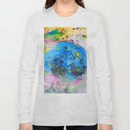 Rustic artistic abstract blue yellow pink watercolor brushstrokes Long Sleeve T-shirt