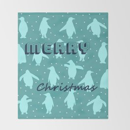Merry Christmas from the penguins I Throw Blanket