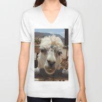 lama V-neck T-shirts featuring Lama  by Ricarda Balistreri