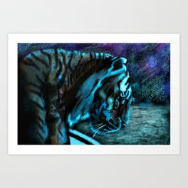 Starry Night on the Ocean with a Tiger Art Print
