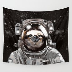 Astronaut Sloth Selfie Wall Tapestry