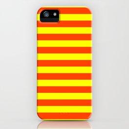 Super Bright Neon Orange and Yellow Horizontal Beach Hut Stripes iPhone Case