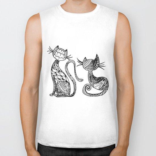 Mandala Cats Biker Tank