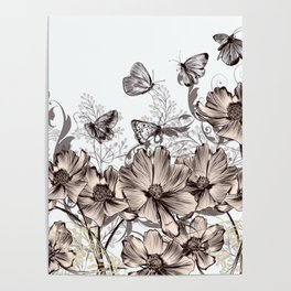 Background with flowers and butterflies Poster