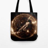 miles davis Tote Bags featuring Miles Davis - Jazz´n away by ARTito