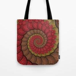 Red and Orange Hippie Fractal Pattern Tote Bag