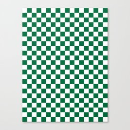 White and Cadmium Green Checkerboard Canvas Print