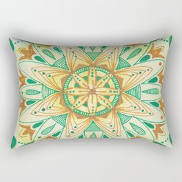 Simple Green/Yellow Mandala Rectangular Pillow