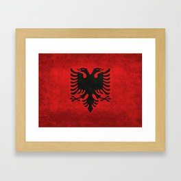 """National flag of Albania - in """"Super Grunge"""" Framed Art Print"""