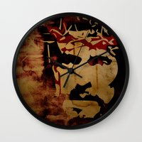christ Wall Clocks featuring Jesus Christ by Ed Pires