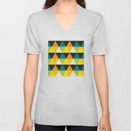 Geometric Pattern #60 (teal orange yellow triangles) Unisex V-Neck