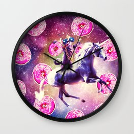 Thug Space Cat On Unicorn - Donut Wall Clock