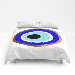 Grecian Gold evil eye in blue on white Comforters